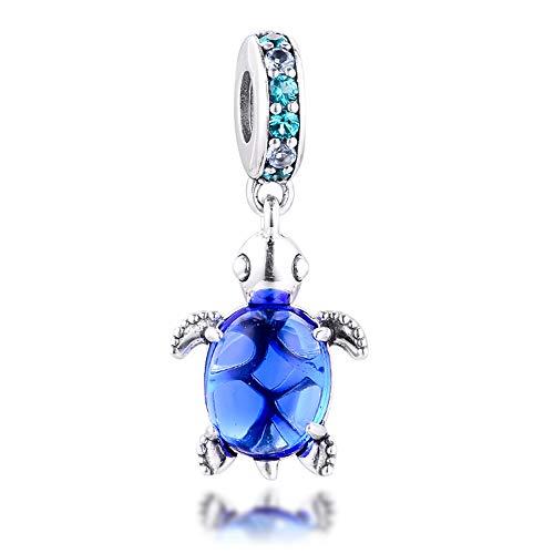 PANDOCCI 2020 été Bleu en Verre de Murano Tortue de mer balancent Perle 925 Argent Bricolage Convient pour Original Pandora Bracelets Charme Bijoux de Mode