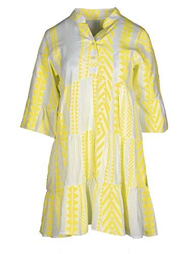 Zwillingsherz Sommerkleid im Ibiza Design – Hochwertiges Partykleid für Damen Frauen Mädchen - Strandkleid Kurzkleid - Locker luftig - OneSize - Perfekt für Frühling Sommer und Herbst - gelb