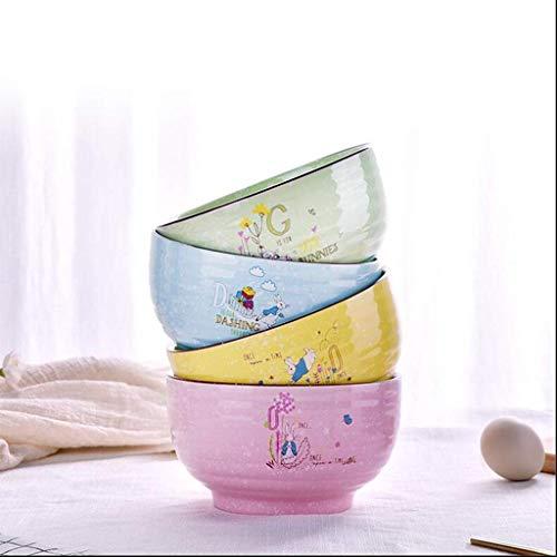 JUNYYANG Paquete de 4 Linda de cerámica Plato de Arroz Soup Bowl Tazón Tazón Condimento del Cuenco de Fruta