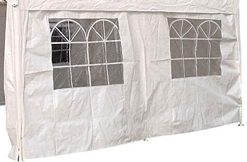 DEGAMO Seitenplane für Zelt 3x4 Meter, PE Weiss mit Fenstern