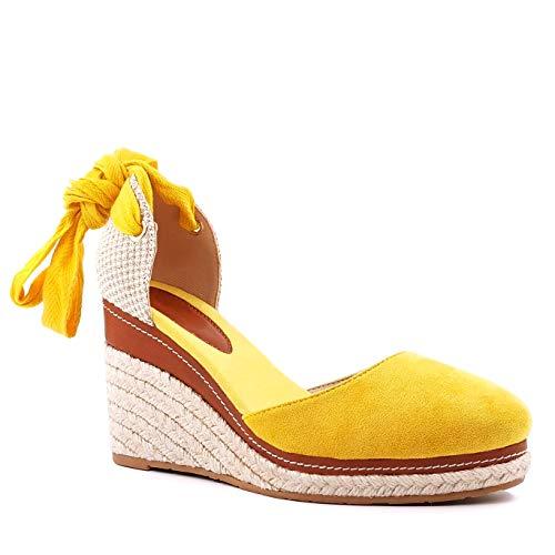 Angkorly - Damen Schuhe Sandalen Espadrille - Böhmen - Hippie - Hipster - Kasual - Seil - mit Stroh - Schnürung Keilabsatz 9 cm - Gelb 3 429-15 T 40