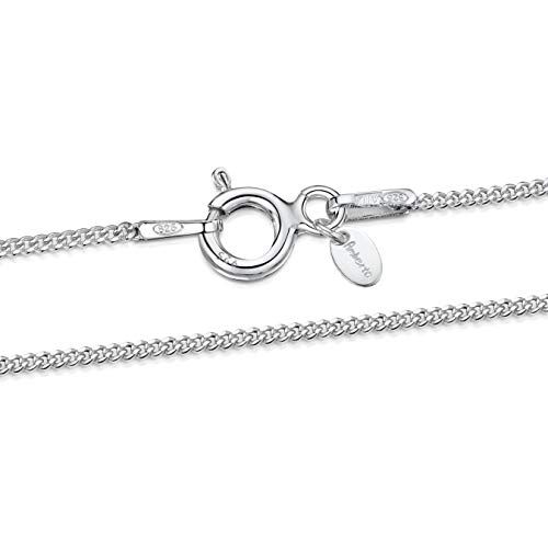 925 Sterling Silver 1.1 mm Curb Chain Necklace Size: 14 16 18 20 22 24 inch / 36 40 45 50 55 60 cm (18inch/45cm)