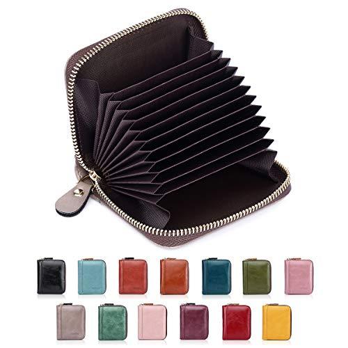 YOVIEE - Cartera para Tarjetas de crédito para Mujeres, con Bloqueo RFID y Tarjetero, diseño Minimalista para Mujer, 10 Ranuras para Tarjetas (8118)