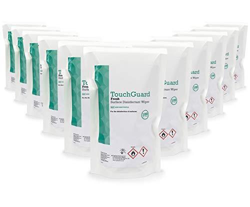 TouchGuard Toallitas frescas desinfectantes para superficies, bolsa de recarga, 100unidades, paquete de 12, hecho en Reino Unido