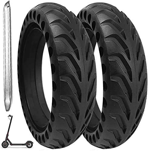 Bitume® 2 Pneus Pleins Increvables pour Trottinette Electrique Xiaomi, M365, M365 Pro, 1S. 8,5 Pouces Pour roue avant et arrière + avec démonte pneu en métal