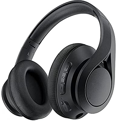Wireless Headphones Over Ear, Foldable Wireless Hi-Fi Stereo Headset, [60 Hrs Playtime] Bluetooth Headset Built-in Mic, Volume Control, Fast Charge, AUX Input for Travel, Online Class, Home Office by Lovchter