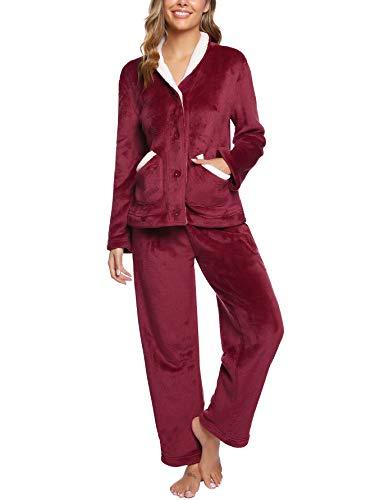 iClosam Pyjama Femme Polaire Ensemble de Pyjama Femme Hiver Chaud Ultra-Douce à Manches Longues avec 2 Poches Pyjama Polaire Rouge S