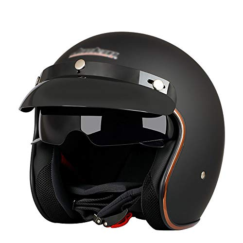 Motorrad-Sturzhelme ECE/DOT-Zertifizierung Unisex MotorräDer Open Face Helm Harley Retro Halbhelm 3/4 Moped Scooter Cruiser-Chopper Jet-Helm