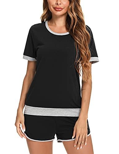 Irevial Chandal Mujer Completo Verano Conjunto Camiseta de Manga Corta y Pantalones Corto con Cordón y Bolsillo Ropa Deportiva 2 Piezas para Fitness Yoga Negro, L