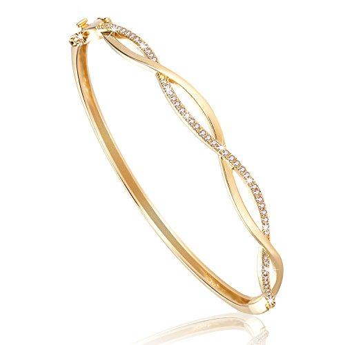 NINAMAID Doppelte Unendlichkeitssymbol Oval geformt Armreif mit Rundschnitt Zirkonia Vergoldet Armband Frauen Schmuck (Gold)