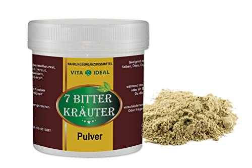 VITAIDEAL ® 7 Bitter Kräuter PULVER 300g mit Bibernellwurzel, Wermut, Schafgarben, Fenchel, Kümmel, Anis, Wacholderbeeren + Messlöffel