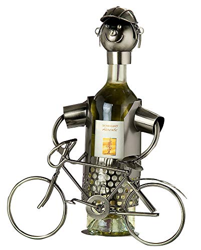 GILDE Flaschenhalter Fahrrad - vernickelte Figur aus Metall H 28 cm