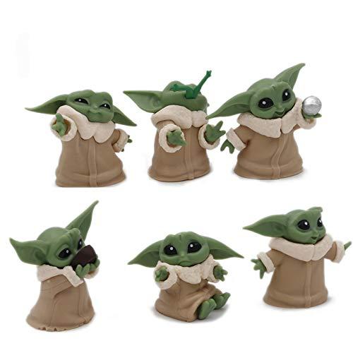 CYSJ 6 PCS Adornos de Star Wars Decoración de Pasteles,Star Wars Figura De Acción Bobble La Muñeca del Coche Interior Accesorios Adornos para Regalo de niños