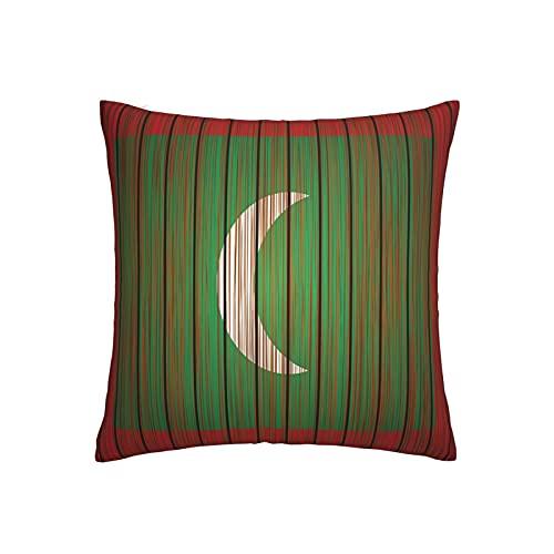 Grunge Malediven Flagge Kissenbezug quadratisch dekorativer Kissenbezug für Sofa Couch Zuhause Schlafzimmer Indoor Outdoor Cute Kissenbezug 45,7 x 45,7 cm