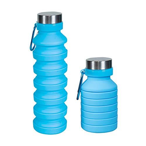 Louis Donne Botella de agua plegable de silicona libre de BPA, reutilizable, a prueba de fugas, 550 ml, para senderismo, correr, viajar, gimnasio, azul