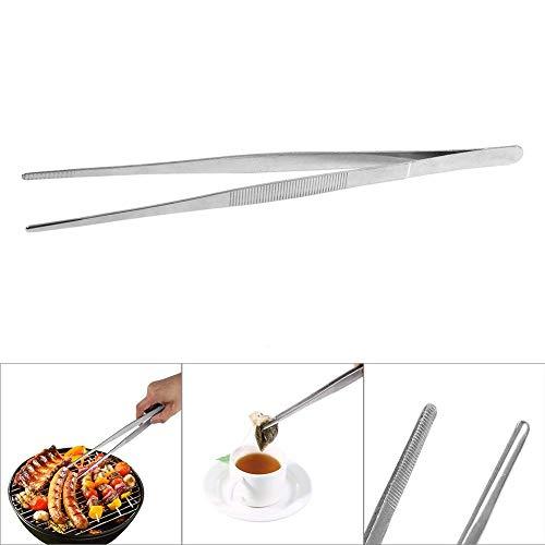 BETT Pinces à épiler - Ustensiles de Cuisine Précision Acier Inoxydable Argent Long Food Tongs Straight Home Medical Tweezer (1PC)