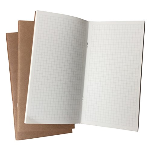 (3er Set) Grid Notizbuch/Journal - Graphische Einlagen für Stanadard Size Travelers Notebook, 100gsm Papier, 11x21cm