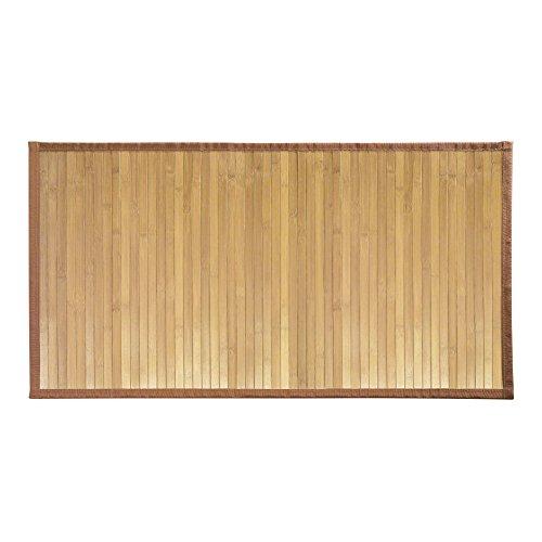 iDesign Formbu Bamboo Floor Mat Non-Skid, Water-Resistant Runner Rug for Bathroom, Kitchen, Entryway, Hallway, Office, Mudroom, Vanity, 34' x 21', Set of 2, Natural Wood