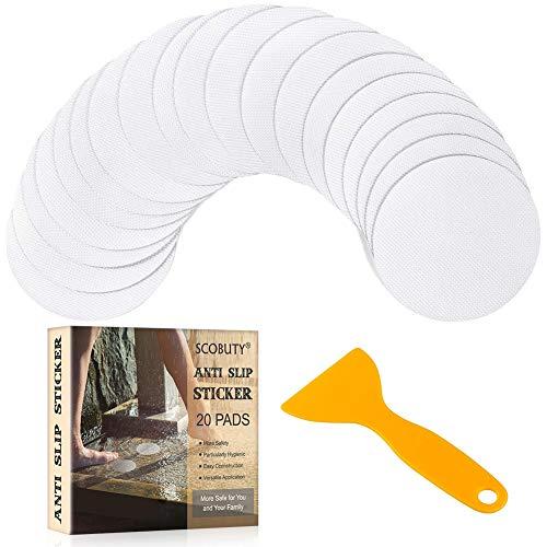 SCOBUTY Anti-rutsch Aufkleber,Antirutsch Aufkleber,Anti-rutsch-Sticker,10CM Durchmesser Rund Rutsch-Schutz Sticker,mit Kunststoffschaber,Geeignet für Badezimmer, Küchen, Treppen(20 Stück)