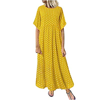 Women Boho Dress Plus Size M-5XL Casual Irregular Party Long Maxi Dresses Baggy Kaftans Ball Gown Vintage Loose Short Sleeve Polka Dot Printed Flowy A-Line Swing Dress (Yellow, UK:16/ 5XL)