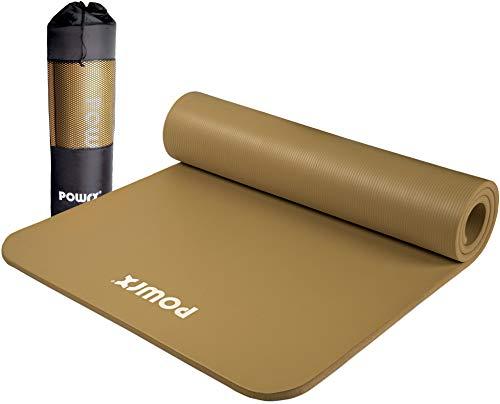 POWRX Gymnastikmatte Premium inkl. Trageband + Tasche + Übungsposter GRATIS I Hautfreundliche Fitnessmatte Phthalatfrei 190 x 60, 80 oder 100 x 1.5 cm (Braun, 190 x 100 x 1.5 cm)