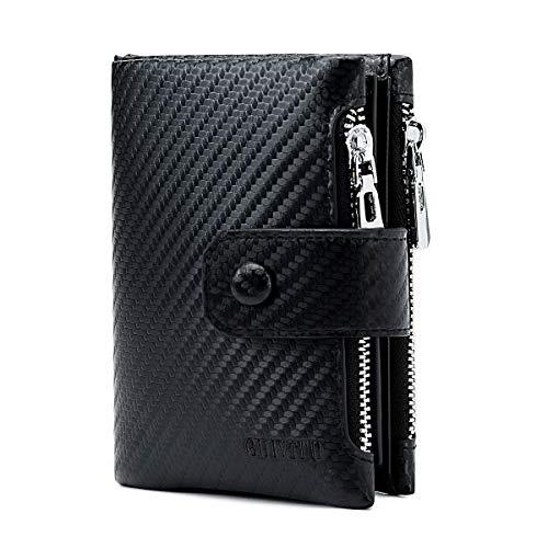 GUIVITU Carteras para Hombre Tarjetero Billetera Minimalista Tarjeteros Hombre RFID Protección Carteras Slim Negro Wallet con Cremallera Fibra de Carbono Monedero Cartera (Negro)