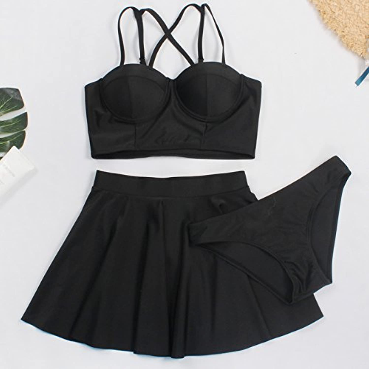 GAOLIM Skirt Style Split Swimsuit Female ThreePiece Small Chest Gather Together The Bubbling Hot Spring Steel