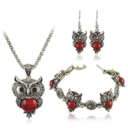 Sevenfly Girls Vintage Owl Jewelry Sets Retro Turquoise Gemstone Owl Pendant Necklace Drop Earrings Charm Bracelet Set(red)