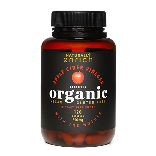 Apple Cider Vinegar with Mother - 550 mg Organic Raw ACV Powder Rich in enzymes, Healthy Gut Acid, Balance PH Levels, 120 Capsules from Organic Apple Orchards in New Zealand.