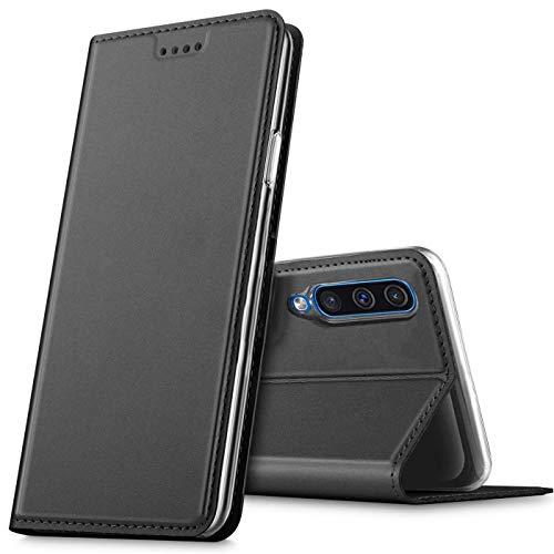 Verco Handyhülle für Huawei P Smart Pro, Premium Handy Flip Cover für Huawei P Smart Pro Hülle [integr. Magnet] Book Hülle PU Leder Tasche, Schwarz