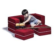 Jaxx Zipline Kids Modular Loveseat & Ottomans/Fold Out Lounger, Cherry