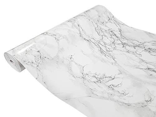 Askol DecoMeister Klebefolien in Stein-Optik Steinfolien Deko-Folien Steindekor Selbstklebefolie Möbelfolie Selbstklebend Stein 45x100 cm Marmi Marmor Grau