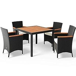 Deuba Poly Rattan Sitzgruppe 4+1 Stapelbare Stühle Gartentisch 7cm Auflagen 4 Personen Akazie Holz Gartenmöbel Set…