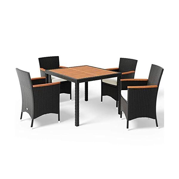 Deuba Poly Rattan Sitzgruppe 4 Stapelbare Stühle 7cm Auflagen Gartentisch 90x90 cm Akazie Holz Gartenmöbel Set Schwarz