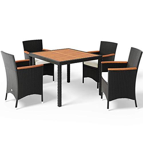 Deuba Poly Rattan Sitzgruppe 4+1 Stapelbare Stühle Gartentisch 7cm Auflagen 4 Personen Akazie Holz Gartenmöbel Set Schwarz