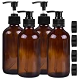 Empty Amber Glass Pump Bottles, 8oz Pump Bottles,Pack of 4,Refillable Containers