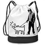 Banksy Haring Dog ナップサック ジムサック キャンディーバッグ 巾着袋 収納バッグ 防水 引き紐袋 水泳 リュックサック プリント 人気 オシャレ 軽量 便利 多機能 アウトドア メンズ レディース 乾湿分類