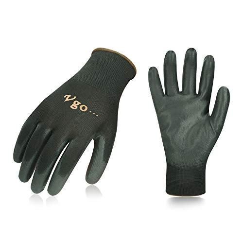 Vgo 30 paia guanti da lavoro e giardinaggio in PU, guanti da giardino, edile, multifunzione (9/L, Nero, PU2103)
