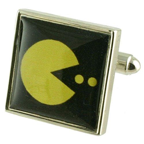 Select Gifts Gelb Pacman Spiel Manschettenknöpfe für Herren Manschettenknöpfe Sterling Silber 925massiv + Nachricht personalisierbar Gravur Box