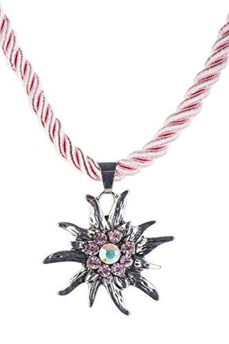 Trachtenkette Edelweiss Anhänger mit Kordellband diverse Farben Trachten Kette für Dirndl und Lederhose Trachtenschmuck (Rosa)