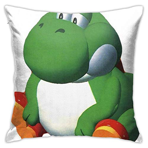 shuyang Big Fat Yo-sh-i Throw Pillow Covers Home Decoration Soft Square Throw Pillow Case Cushion Case for Bed Couch Sofa Farmhouse Both Sides (18'x18')
