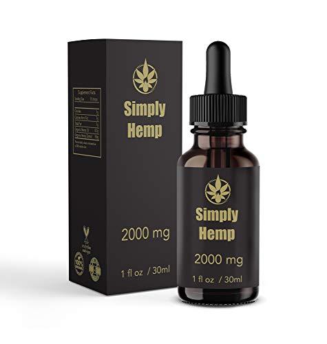 Gotas de aceite de cáñamo Simply Hemp 20% ~ 2000 mg | 30 ml | Ayudan a reducir el estrés, la ansiedad y el dolor | Veganas