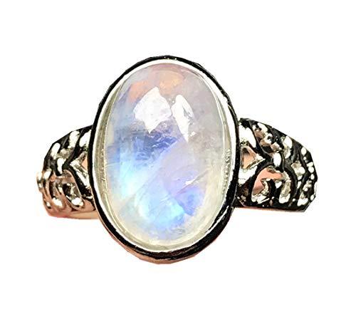 Anillo de piedra lunar natural, arco iris piedra lunar piedra anillo de joyería para mujeres hombre azul luz cristal 14x10mm cuentas tamaño ajustable anillo AAAAA