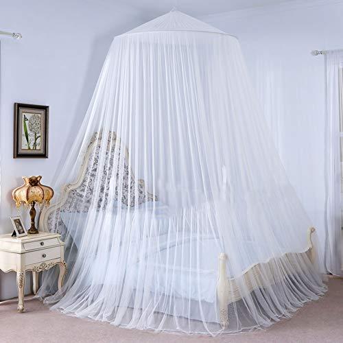 Vintoney cupola zanzariera per letto di tutte le dimensioni, repellente per insetti pieghevole portatile per casa, giardino, balcone, campeggio -Bianca