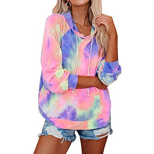 Xiangliood, modisches Damen-Sweatshirt, Batik-Druck, lange Ärmel, Kordelzug, Reißverschluss, Hoodies Gr. XL, Violett (2)