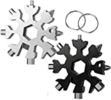 18-in-1 Snowflake Multi-Tool,Stainless Steel Multitool Card Combination Compact Portable Outdoor Products Snowflake Tool Card 2Pack Silver+Black