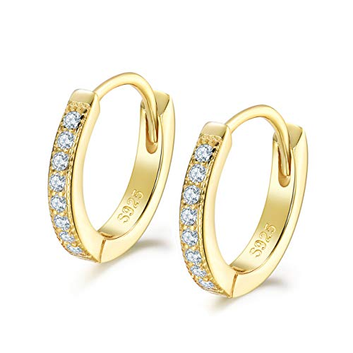 Shuxin Silver Hoops Earrings for Women, 925 Sterling Silver Gold Huggie Hinged Earrings with AAA Cubic Zirconia, Diameter 13mm Hypoallergenic Small Sleeper Hoops
