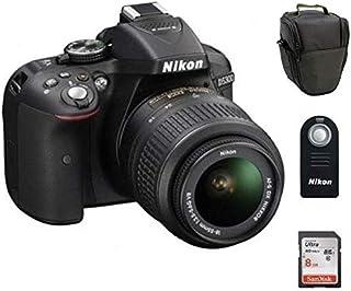 مجموعة من كاميرا نيكون 24.2 ميجابكسل موديل (D5300) مع حقيبة للكاميرا، ريموت (ML-L3) وبطاقة ذاكرة سانديسك 8 جيجابايت
