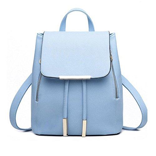 Rucksack Kolylong® 1Set 2 PCs Damen Vintage Rucksack PU Leder Elegant Schultasche für Mädchen Rucksackhandtaschen Umhängetasche Freizeit Daypacks Für Outdoor Sports Backpack (Blue-One)