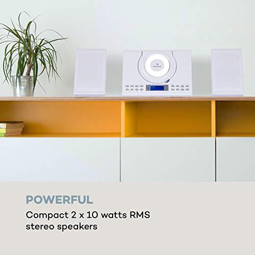 auna Wallie Microsystem - Stereoanlage, Microanlage, Kompaktanlage, 2 x 10 Watt RMS Stereo-Lautsprecher, Front-Loading CD-Player, UKW, Bluetooth, USB-Port, LCD-Display, Fernbedienung, weiß